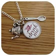 Alice in Wonderland Drink me tea time tea party Necklace