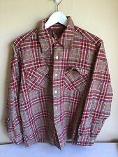 Vintage Pendleton Wool Flannel Brown Red Black Plaid Size Large Button Up Shirt