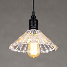 Vintage Retro Glass Shade Ceiling Lamp Metal Pendant Light Crystal Chandeliers