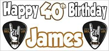 Rock Metal 40th Birthday Banner X2 Party Decorations Mens Ladies Adults ANY NAME