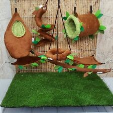 7 Pcs Cute Sugar Glider Cage Set Forest Pattern Brown Color,Kullachy.shop