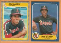 Rod Carew, Angels and Twins, 2 card LOT, 34+yr old cards, HOF, Nr Mint or better