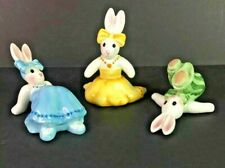 """Fitz And Floyd """" be-bop bunnies - tumblers """" Set Of 3 ( 2002 ) 4"""" x 3"""" each"""