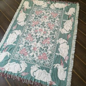 Vintage Rabbit / Flowers Woven Tapestry Effect Blanket/Throw Pink & Green
