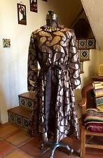 VINTAGE 60s CEIL CHAPMAN BROWN ORGANZA GOLD LAME' PAISLEY PARTY COCKTAIL DRESS M