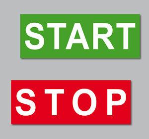 Set Aufkleber 6,5cm Start Stop Taste Maschine Werkbank Automat Labor Werkstatt