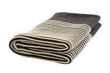 "Handmade Striped Charcoal 100% Merino Wool 40""x70"" Throw Blanket Made in Ireland"