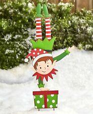 Silly Elf Garden Stake Christmas Holiday Outdoor Yard Lawn Decor - Handstand Boy