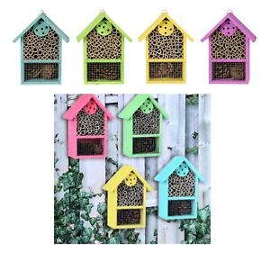 Wooden Insect Bug Hotel Bee House Natural Wood Shelter Garden Nest Box Coloured