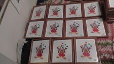 lot of 11 circus happy clown art framed wood glass juggler audrey horn limited !