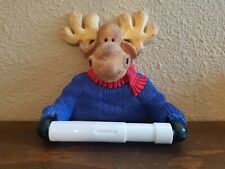 Wall Mounted Moose in Blue Sweater Lodge Decor Toilet Paper Holder - New in Box
