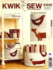 Kwik Sew Sewing Pattern K3938 3938 Nora's Nesting Baskets Fabric Baskets Boxes