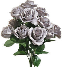 Gray  ~ 12 Open Long Stem Roses Silk Wedding Flowers Bouquets Centerpieces Decor