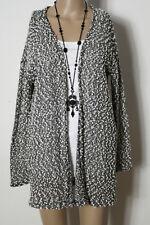 H&M Strickjacke Gr. S schwarz-weiß meliert Bouclé Damen Strickjacke/Cardigan
