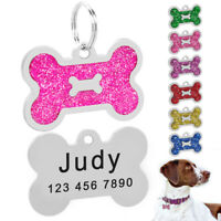 Personalised Dog Tags Engraved Disc Disk Pet Cat ID Name Collar Tag Bone Glitter