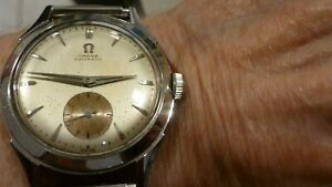 VINTAGE 1954 MENS OMEGA AUTOMATIC #344 STAINLESS STEEL WATCH EXCELLENT RUNNING