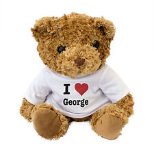NEW - I LOVE GEORGE - Teddy Bear Cute Cuddly - Gift Present Birthday Valentine