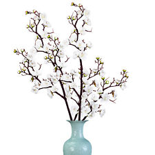 2pcs Artificial Flowers Plum Blossom Stems Fake Winter Plum Tree Branch White