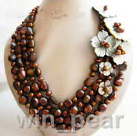 4Strands 12mm Coffee Baroque Shell Flower Freshwater Pearl Necklace