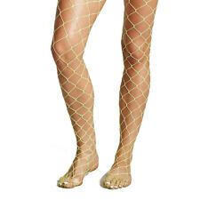 Womens Tights Microfibre Plain Oversized Fishnet Black Striped Sparkly One Size