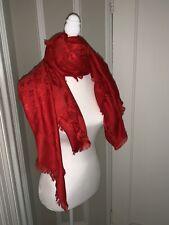 LOUIS VUITTON Red Monogram Silk & Wool Scarf Shawl Wrap New