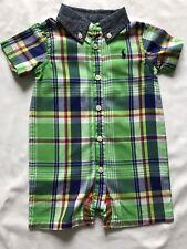 Ralph Lauren Baby Shirt Romper 3m Check Design in Green
