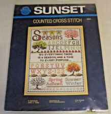 """SUNSET Counted Cross Stitch Kit # 2924 """"A SEASON AND A TIME""""  11"""" X 14"""" Sampler"""