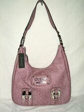 """GUESS?...FABULOUS for summer """"BALBOA"""" MAUVE faux OSTRICH HOBO..LAST ONE...NWT"""