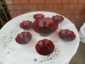 VINTAGE RUBY GLASS 7 PIECE DESSERT SET