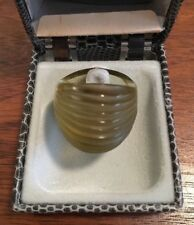 WOW!!! Auth Signed LALIQUE NERITA Amber Ring BOX included - SZ 5.5