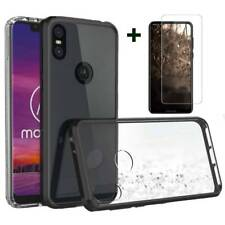 For Motorola Moto One Vision Acrylic Case Clear UltraSlim Cover+Tempered Glass