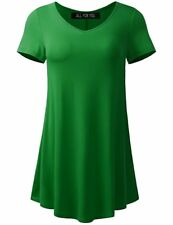 All for You Women's Round and V-Neck Flare Tunic Made in USA