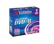 Verbatim DVD-R 4.7GB 16 Speed Jewel Cased 43519 Case 5 disk pack 4 music etc