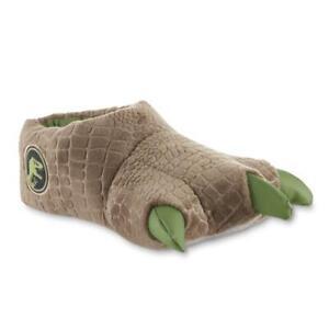 Jurassic Park World Green Dinosaur Feet Boys Slippers - Size 2/3 - Youth