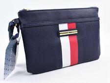 TOMMY HILFIGER Women's Faux Leather Clutch Wristlet Pouch Bag, Navy Blue