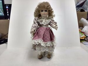 Porcelain Doll Vintage Jerri McCloud Pink White Dress 1988 With Stand      ds265