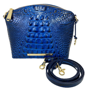 BRAHMIN Sapphire Blue Melbourne Embossed Leather Mini Duxbury Crossbody Handbag