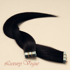 40Pcs Full Head Tape-in Extensions 100% Human Hair Remy A+ #1B (off black)