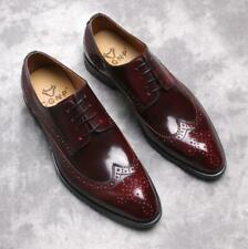 Mens Wedding Pointy Toe Carved Party Genuine Leather Business Shoes Formal Work