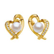 Akoya Cultivada Perla & Corazón De Diamante Pendientes en 14k Amarillo Oro 1/6