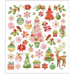 Christmas Gold Metallic Stickers Self Adhesive Christmas Trees Baubles Reindeer