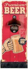 """Metall-Flaschenöffner auf Vintage Holzbrett mit Auffangebehälter """"Premium Beer"""""""