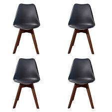 4 X (4X) (X4) BLACK Jamie Dining Chair WALNUT Designer SOFT PAD FAUX LEATHER
