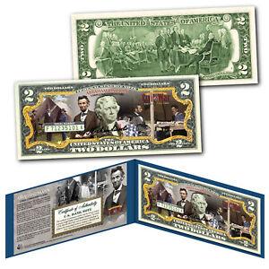 ABRAHAM LINCOLN American Civil War Commander-in-Chief Genuine US $2 Bill w/Folio