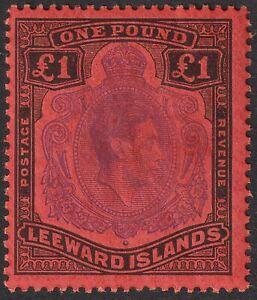 Leeward Islands 1952 KGVI £1 Violet and Black on Scarlet p13 Mint SG114c w bend