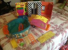 Lot Vintage 1968 Barbie Family House & 1972 Barbie Camper 1973 Pool accessories