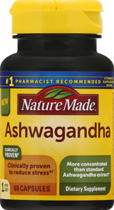 (2 PACK) Nature Made Ashwagandha Capsules, 60 Count, total 120 Exp-02/22 Sealed