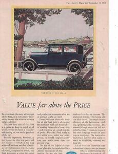 1929 Ford Model A Tudor Sedan Original ad  -  Rare