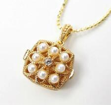 Gold Filled Sterling Silver White Pearl CZ Tiny Square Locket Pendant Necklace