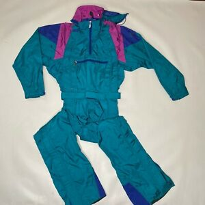 Vintage North Face Extreme Goretex One Piece Ski Snow Womens Size 10 TEAL